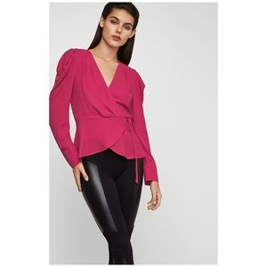 BCBG Pink Wrap Long Sleeve Surplice Blouse